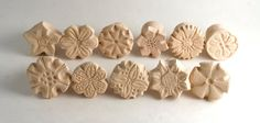 Clay Stamp Set of 3 4 or 5 RANDOM Flower Power Tools di GiselleNo5