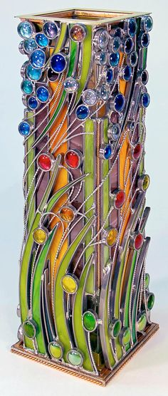 April Showers - Vase - Delphi Stained Glass. This would also be stunning rendered in polyclay
