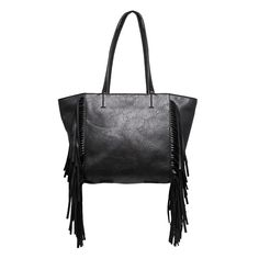 Yoki Fashion Black fringe bag - vegan leather Very awesome bag! It's a high quality bag that retailed for $100. Gently used, maybe a few times. I'll take pics of my bag and upload soon. NO TRADES DO NOT MAKE AN OFFER THAT IS HALF THE PRICE OF THE LISTING IT'S RUDE Bags