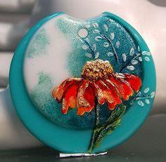 TRIZASDESIGNS- Handmade fused glass lampwork bead .(1 focal) REF- LB0668-SRA-