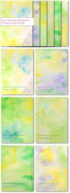 Green Yellow Watercolor Background. Textures. $5.00
