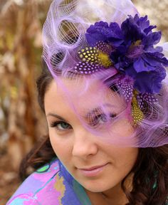 "FREE SHIPPING Fascinator, purple fascinator hat, purple flower, wedding hat ""Purple Luna"". $45.00, via Etsy."