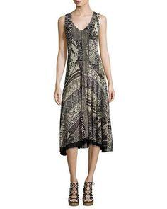 FUZZI SLEEVELESS LACE MOSAIC-PRINT A-LINE DRESS, BLACK PATTERN. #fuzzi #cloth #