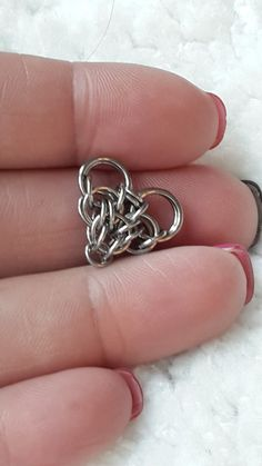 Tiny Chainmaille Heart Earrings in Stainless Steel