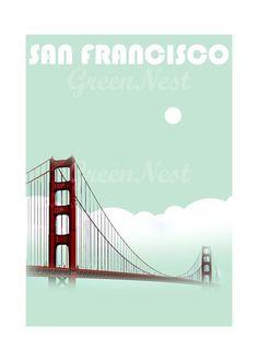 Aqua San Francisco Golden Gate Bridge Collage Poster Print $14.00