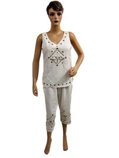 Summer Dress for Womens Embroidered White Sleevless Blouse with Short Pant Mogul Interior, http://www.amazon.com/dp/B008146K24/ref=cm_sw_r_pi_dp_mYkRpb0XW3702