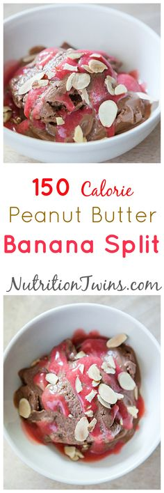 Peanut Butter Banana Split | Only 150 Calories |Healthy way to squash a sweet tooth using fruit and less than a tsp honey per serving! |For Nutrition & Fitness Tips RECIPES like this please SIGN UP for our FREE newsletter www.NutritionTwins.com
