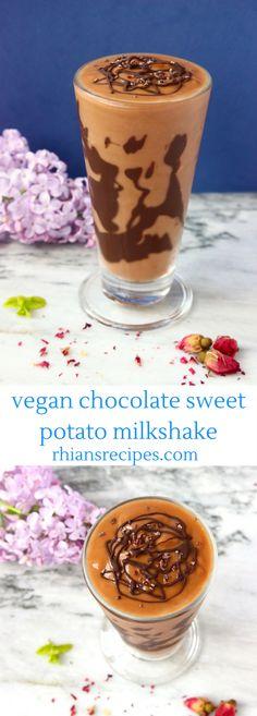 Chocolate Sweet Potato Milkshake - vegan, gluten-free and refined sugar free. 3 ingredients, easy to make, super healthy! Best Vegan Desserts, Vegan Dessert Recipes, Delicious Desserts, Vegan Food, Apple Smoothies, Vegan Smoothies, Sweet Potato Smoothie, Vegan Cafe, Vegan Chocolate