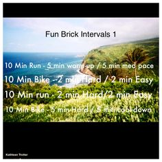 I took this photo when I was in Hawaii participating in the Ironman 70.3. I used the above workout in training. It is an interval brick workout - which means you do intervals while alternating between biking and running. It is a great workout whether you are training for a triathlon or you just want a good sweat. Try it and tell me what you think!