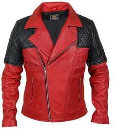 Men Red Genuine Leather Jacket with Black Diamond Quilted Shoulders Red Leather Jacket Men, Best Leather Jackets, Leather Skin, Leather Blazer, Biker Leather, Pink Leather, Real Leather, Jackets For Women, Black Diamond