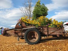 Old piece of farm equipment planter