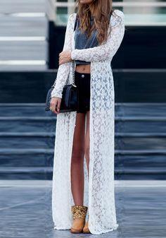 White Lace Cardigan - Creamy White Maxi Cardigan