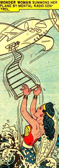 Wonder Woman summons her plane by mental radio control.