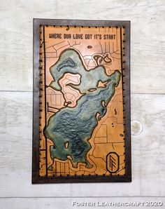 Scale Map, Unique Gifts, Best Gifts, Third Anniversary, White Lake, Custom Map, Leather Craft, The Fosters, Hand Carved