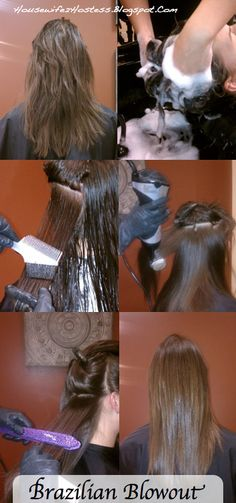 This shows the steps of the Brazilian Blowout. Pinner says: Brazilian Blowout-best money spent ever!!!!