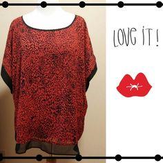 Red animal print blouse Red animal print blouse! RUNS SMALL...MORE LIKE A 24/26 Tops Blouses