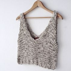 Marled cream and clay organic cotton tank. Fits slightly oversized and cropped at waist.