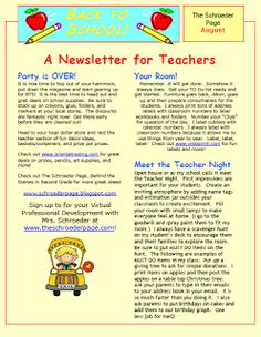 Hey my Teaches.It is Back to School for me now:) I am heading over to my grade team for a meeting. I am so excited to see them and s. Back To School Newsletter, Preschool Newsletter, Classroom Newsletter, Classroom Freebies, Welcome Back Teacher, Welcome Back To School, Beginning Of The School Year, New School Year, Teacher Party