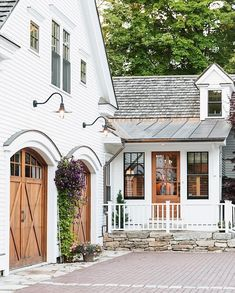 White Siding House Wood Garage Double Doors