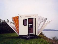 """This amazing camping trailer turns into a spacious mobile home. """"De Markies"""" (The Awning) was built in 1985 by Dutch designer, Eduard Böhtlingk, as a contempora Mobile Living, Mobile Home, Travel Camper, Kombi Home, Little Campers, Mini Camper, Luxury Camping, Luxury Tents, Tiny House Movement"""