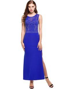 Blue Women Casual Sleeveless Mesh Patchwork O Neck Mermaid Evening Dress