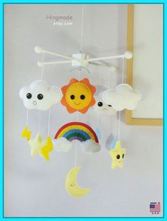 Baby Mobile, Baby Crib Mobile, Nursery Mobile, Adorable Weather Mobile, Cloud Lightning Moon Rainbow Raindrops Sun Stars Themed