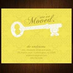 Gold Key Moving Announcement Cards  Set of 100 by MalloryHopeDesign, $88.00