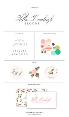 MISS POPPY DESIGN Logo and Branding for Hello Loveleigh Blooms || branding | brandboard | florist | brand board | floral | vintage