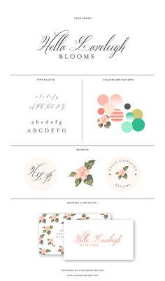 MISS POPPY DESIGN Logo and Branding for Hello Loveleigh Blooms || branding | brandboard | florist | brand board | floral | vintage
