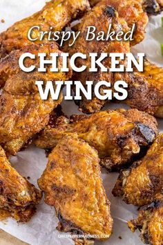These chicken wings are super crispy and made in the oven. A party favorite or dinner for the family that pleases everyone with the extra crispy skin. Serve with your favorite dry rub or spicy wing sauce. Oven Roasted Chicken Wings, Crispy Baked Chicken Wings, Dry Rub Chicken Wings, Bbq Chicken, Wings In The Oven, Oven Wings, Spicy Wings, Spicy Chicken Recipes, Cooking Recipes