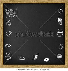 Chalkboard blackboard, with food icon drawing, Square. by plearn, via ShutterStock