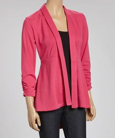 Look what I found on #zulily! Hot Pink Ruched Hi-Low Open Cardigan by Live A Little #zulilyfinds