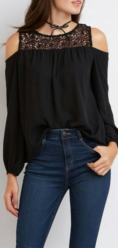 Casual Jewel Neck Long Sleeve Hollow Out Chiffon Blouse For Women Cool Outfits, Casual Outfits, Fashion Outfits, Womens Fashion, Fashion Trends, Blouse Styles, Blouse Designs, Artisanats Denim, Black Cold Shoulder Top