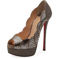 Christian Louboutin Torsatoe Scallop Platform Red Sole Pump (£735) ❤ liked on Polyvore featuring shoes, pumps, heels, grey, grey pumps, peep-toe pumps, slip on shoes, glitter pumps and leather slip-on shoes