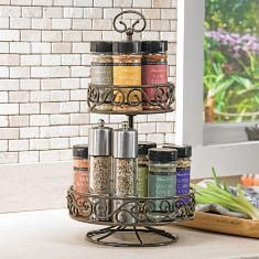#PrincessHouse #Meridian™ Rotating #Spice Caddy...rotating base allows easy countertop access...also use for beauty lotions, etc in the bathroom! $69.95  click on picture for more details  WE SHIP ANYWHERE IN THE U.S.  lindabradley@myprincesshouse.com