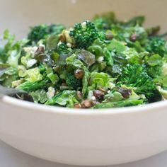The Greenest Salad Recipe ~ Romaine, broccoli, avocado, toasted pistachios & feta