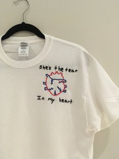 She's The Tear In My Heart Embrodiered T-Shirt by bubblybritany
