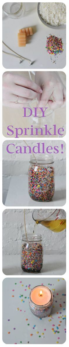 You can make these sprinkle candles in minutes. And really, who doesn't need a candle with sprinkles inside?