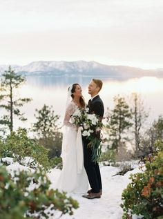 Scenic Lake Tahoe winter wedding: http://www.stylemepretty.com/little-black-book-blog/2016/06/01/stunning-sunset-lake-tahoe-elopement/ | Photography: Cassidy Carson - http://www.cassidycarsonphotography.com/