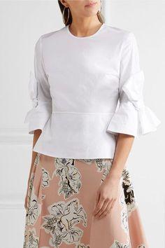 Roksanda - Kemi Bow-detailed Cotton-poplin Peplum Top - White - UK10