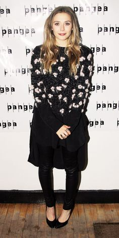 """Elizabeth Olsen at the """"Romeo and Juliet"""" Off Broadway after-party wearing Zara and Topshop."""