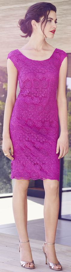 magenta purple lace - http://www.boomerinas.com/2015/03/13/lace-is-still-hot-modern-ways-to-wear-lace-for-spring-summer-2015/