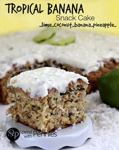 Amazing Tropical Banana Snack Cake!  So moist and tasty!  Lime, coconut, banana and pineapple are a perfect combination! <3