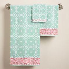 Harbor Blue Geo Jacquard Bath Towel | World Market