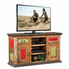 """32"""" high x 56"""" Painted Rustic TV Stand. $299."""