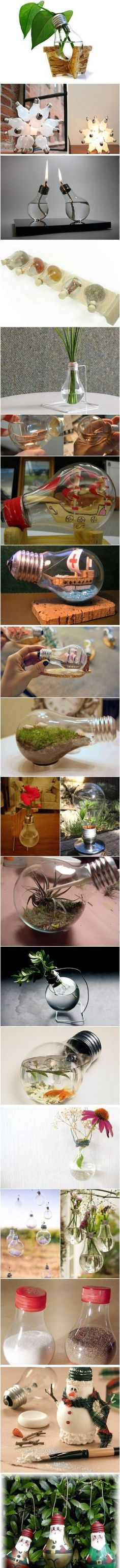 Design Your Own Home With Recycled Light Bulbs - Find Fun Art Projects to Do at Home and Arts and Crafts Ideas Recycled Light Bulbs, Light Bulb Crafts, Fun Crafts, Diy And Crafts, Arts And Crafts, Recycled Crafts, Diy Projects To Try, Craft Projects, Craft Ideas