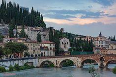VERONA-Looking toward the Ponte Pietra (Pons Marmoreus-once a Roman bridge), and down the Adige river.