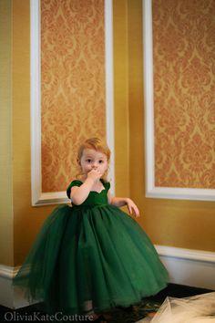 Emerald Flower Girl Dress 3m5T by OliviaKateCouture on Etsy, $145.00