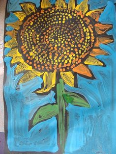 1st Grade sunflower painting @Megan Hopkins Church so many fun things to do on black paper. Maybe your art journals could be black colored on with pastels or something