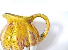 French vintage pitcher handmade yellow vase lava rock
